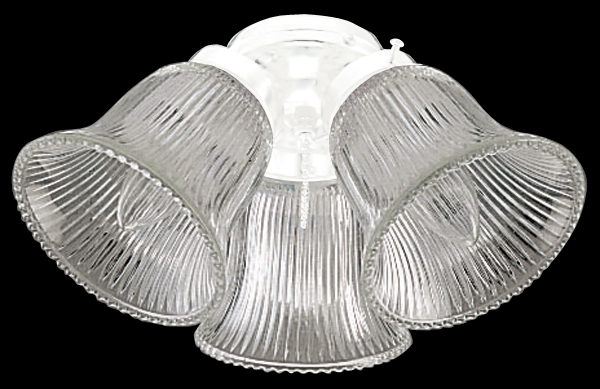 3 Light Fan Light Kit in White with Clear Ribbed Bell Glass