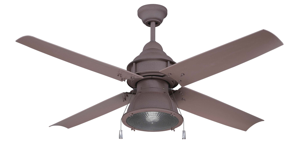 "Port Arbor 52"" Ceiling Fan with Blades and Light in Rustic Iron"