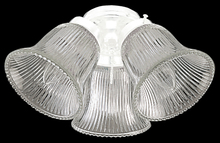Craftmade ECK306WW - 3 Light Fan Light Kit in White with Clear Ribbed Bell Glass