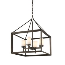 Golden 2073-4 GMT-OP - 4 Light Chandelier (Gunmetal Bronze & Opal Glass)