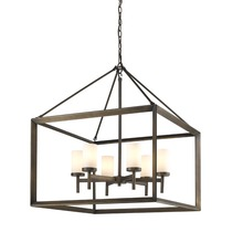 Golden 2073-6 GMT-OP - 6 Light Chandelier (Gunmetal Bronze & Opal Glass)