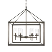 Golden 2073-6 GMT - 6 Light Chandelier (Gunmetal Bronze & Clear Glass)