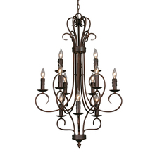 Golden 8512 RBZ - 3 Tier - 12 Light Candelabra Chandelier
