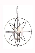 Elegant 1453D20PN - 1453 Vienna Collection Pendant D:20in H:21in Lt:5 Polished Nickel Finish