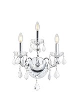 Elegant V2015W3C/RC - 2015 St. Francis Collection Wall Sconce D:13in H:17in E:8in Lt:3 Chrome Finish (Royal Cut Crystals)
