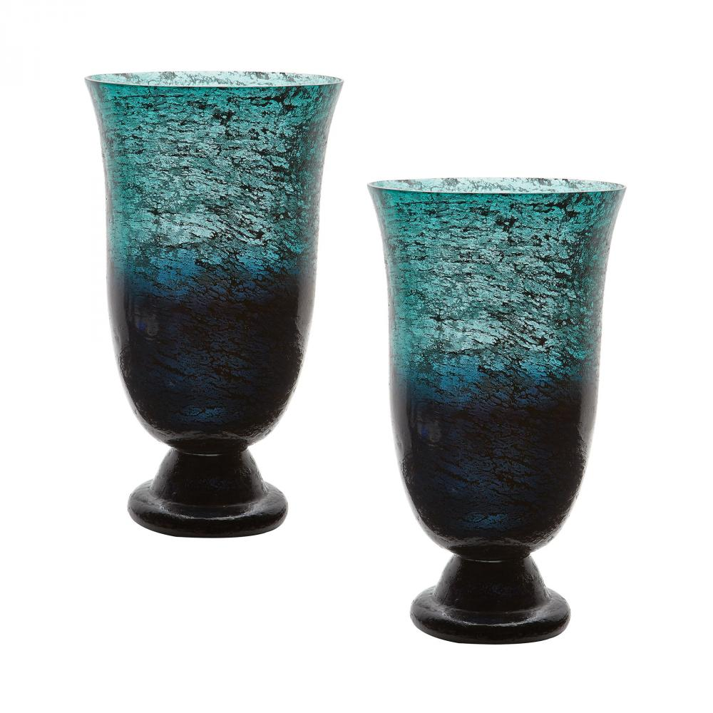 Emerald Ombre Flared Vase - Set of 2