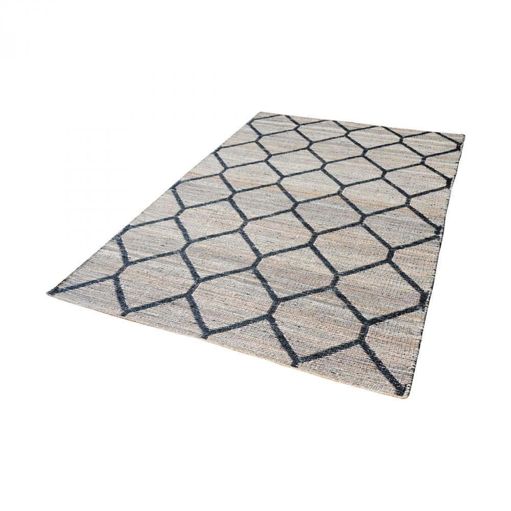 Econ Jacquard Weave Jute Rug In Natural And Blac
