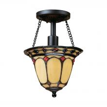 ELK Lighting 70089-1 - Diamond Ring 1 Light Semi Flush In Burnished Cop